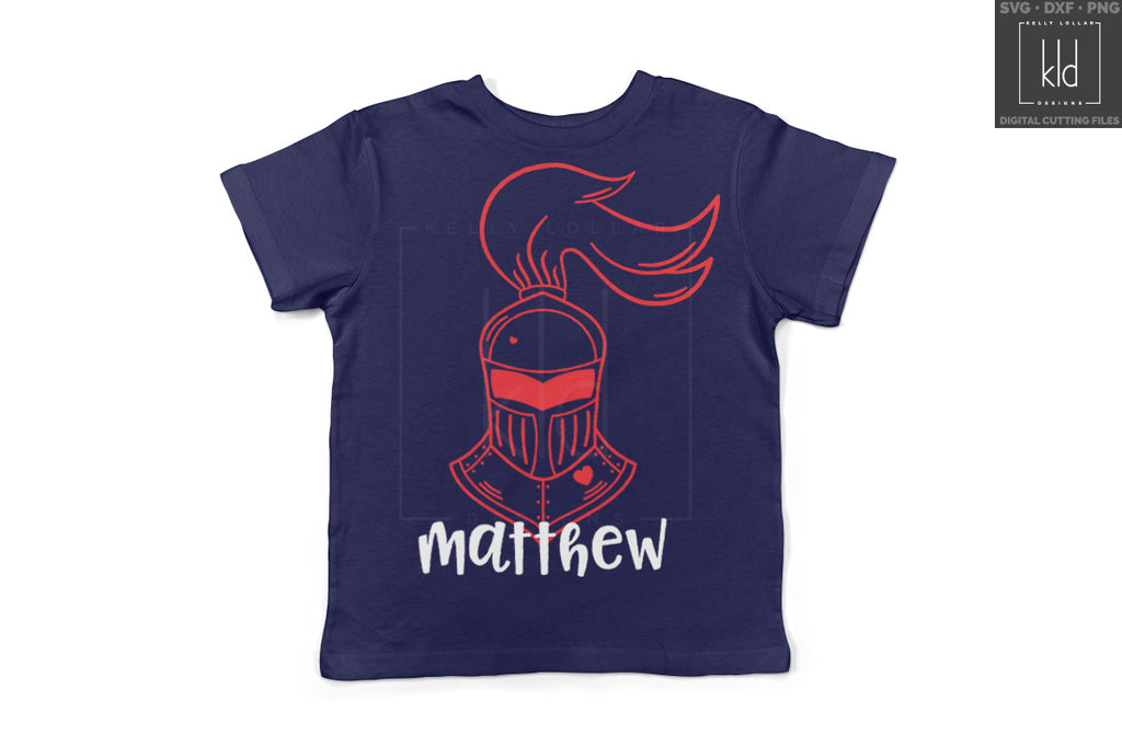 Fun Valentine's shirt for little man made using the Valentine Knight Helmet svg file and added name | Kelly Lollar Designs