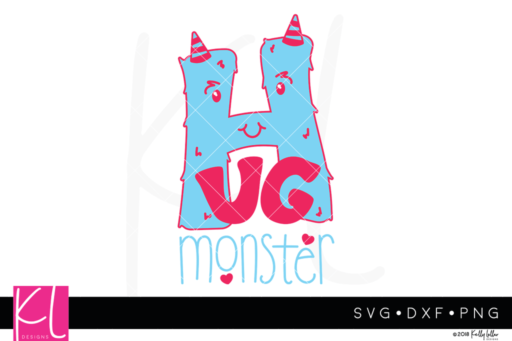 Hug Monster svg cut file with fuzzy horn topped letter H monster