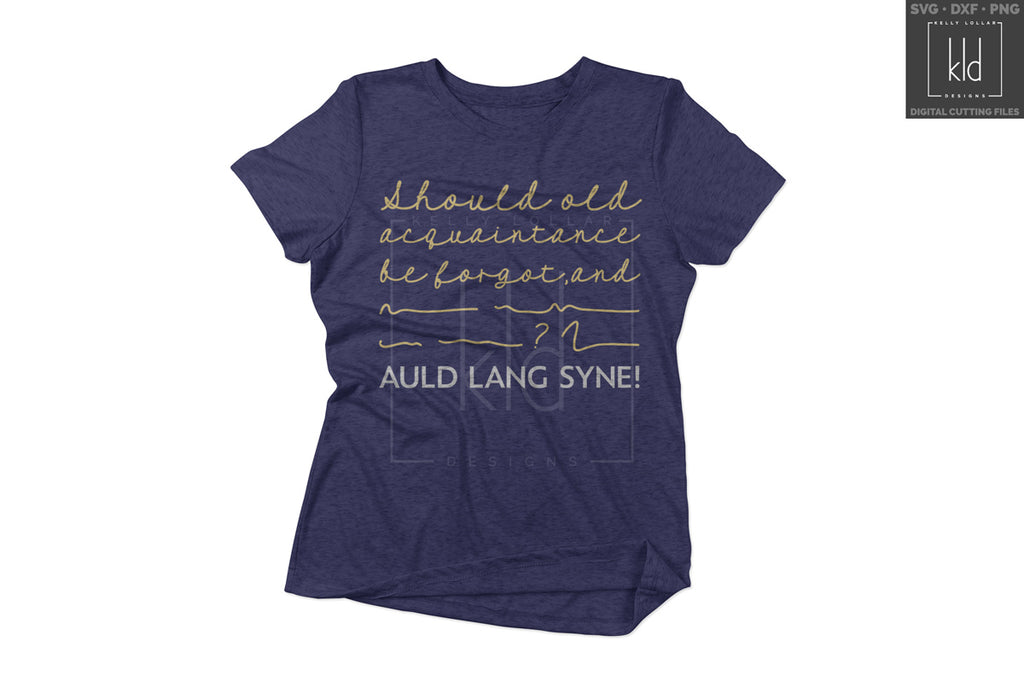 Navy women's shirt with the Auld Lang Syne svg in white and gold
