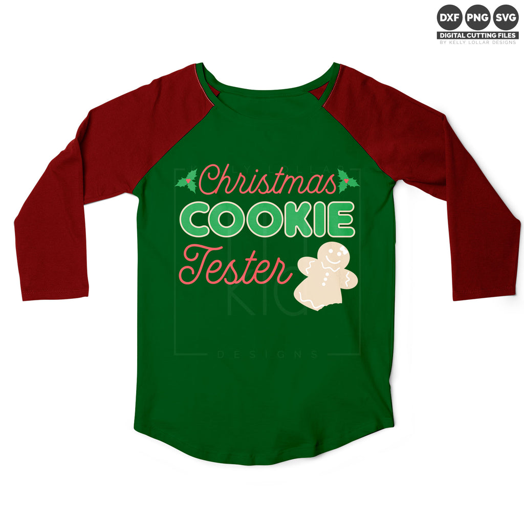 Raglan shirt with the gingerbread girl version of the Christmas Cookie Tester svg