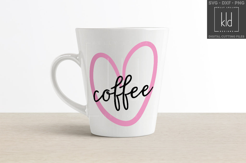 Coffee mug using a heart from the Doodle Heart svg cut file set