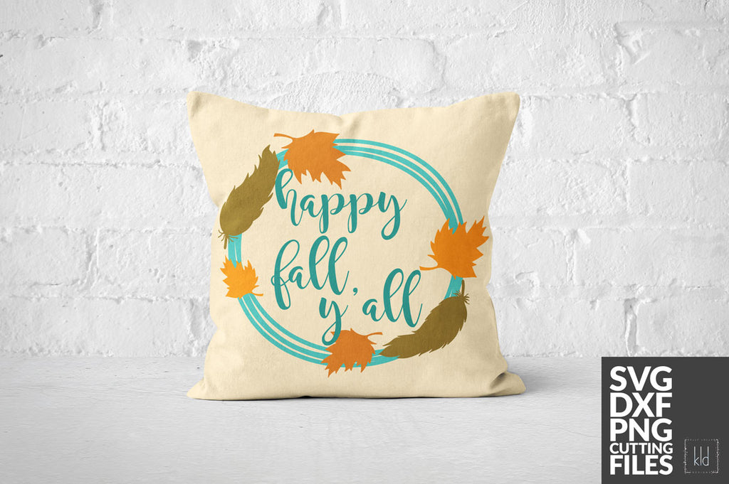 Tan throw pillow with the Fall Monogram svg and added Happy Fall Y'all quote