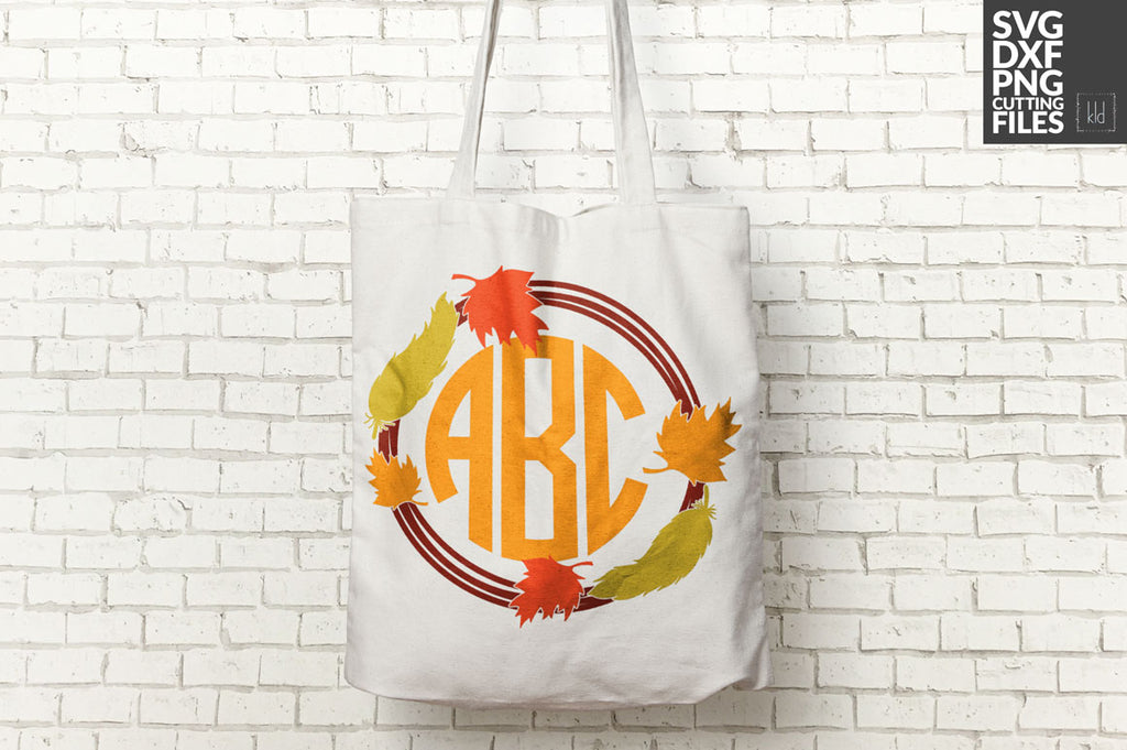Fall Monogram svg cut file used in autumn colors on a canvas tote