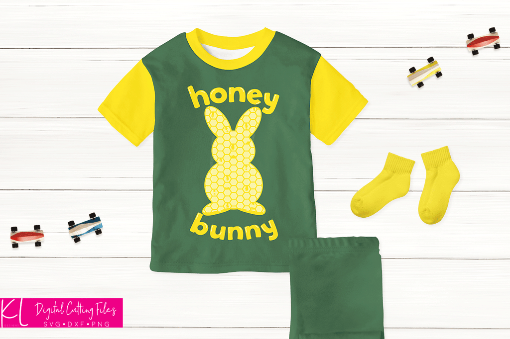 Boy's pajamas in green and yellow made with the Haney Bunny svg file