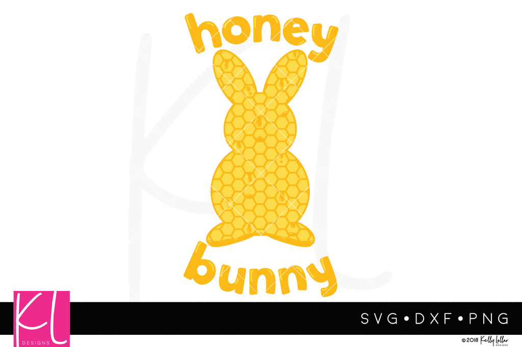 Honey Bunny svg file with dripping honeycomb bunny silhouette