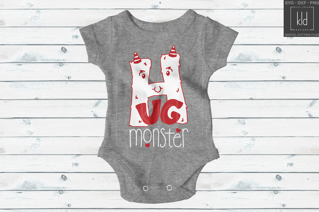 Grey baby bodysuit with the Hug Monster svg in red and white for Valentine's Day
