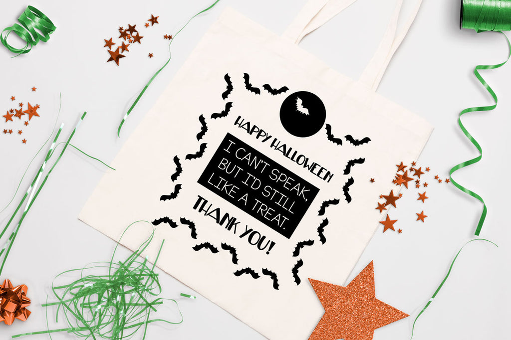 Non-verbal Trick or Treat Bag Design with Bats | Halloween svg cut file | Free for Commercial Use