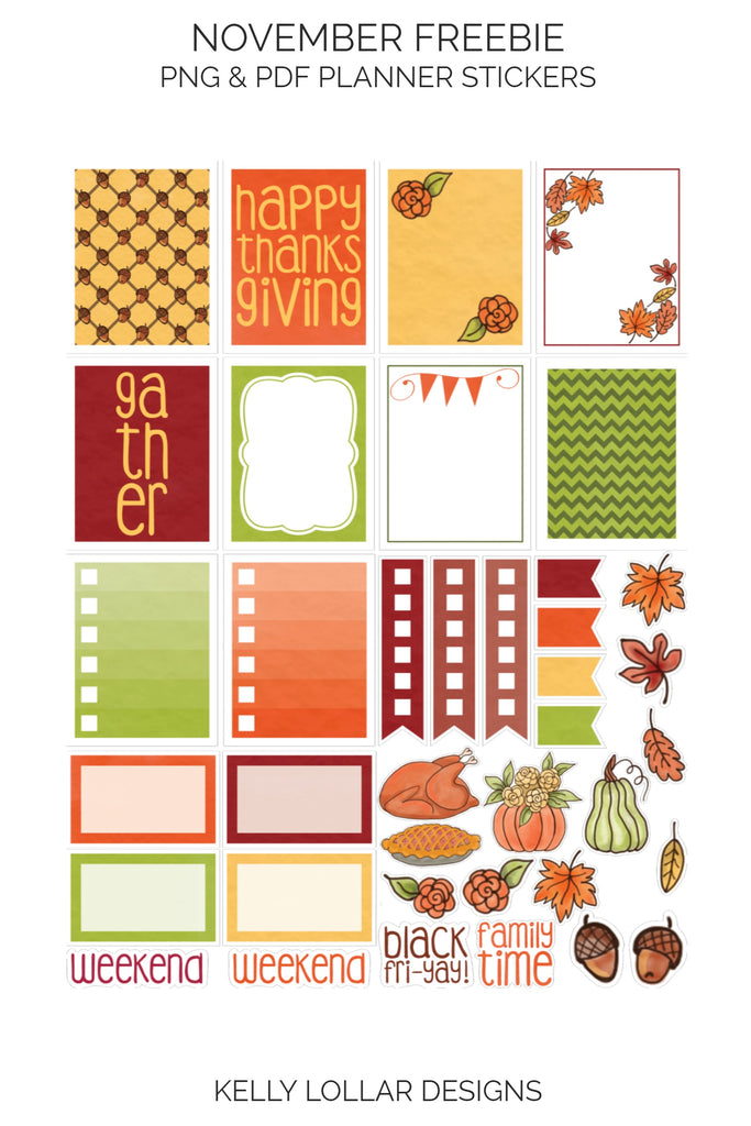 November Print and Cut Planner Stickers with harvest theme - Free for Personal Use