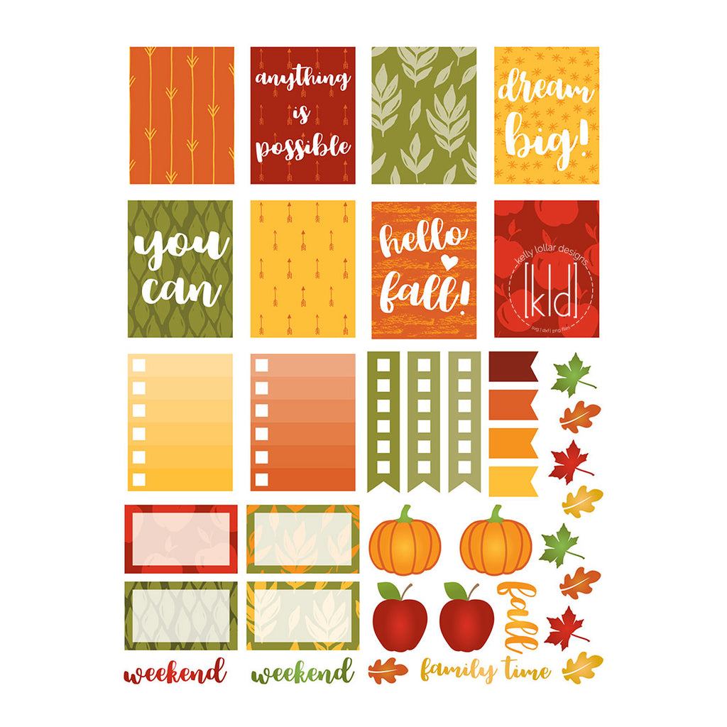 September Fall Planner Sticker Print and Cut Project - Free for Personal Use