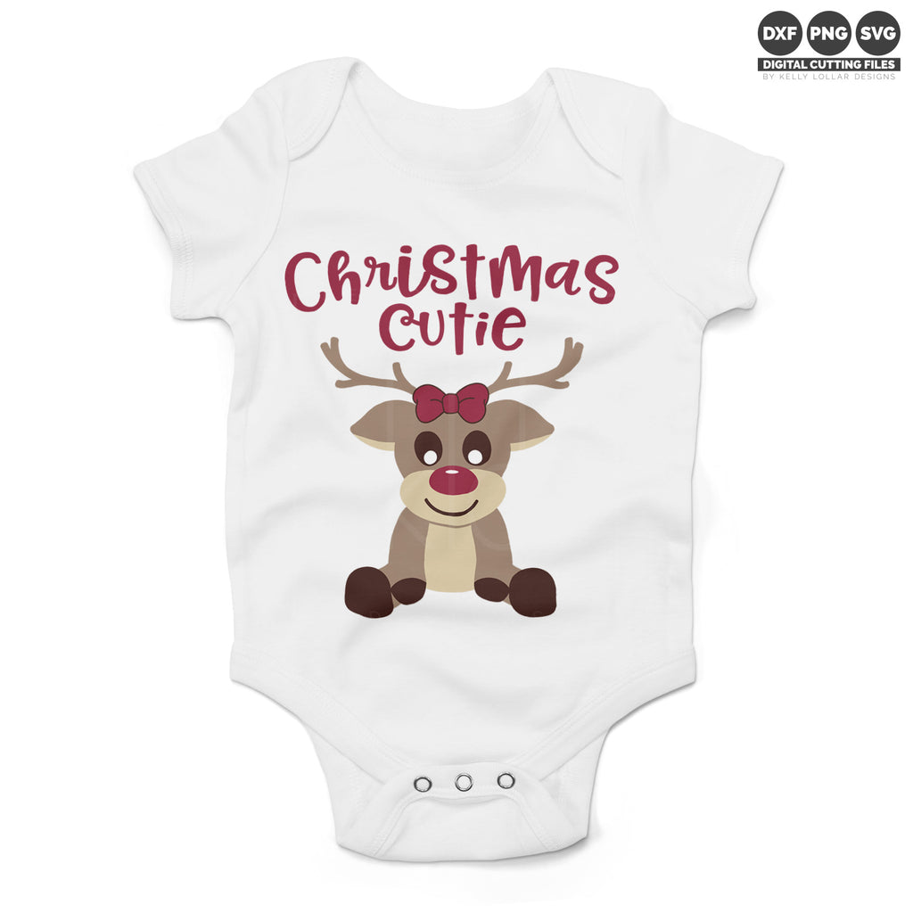 White baby bodysuit with the Girl Reindeer svg and added quote