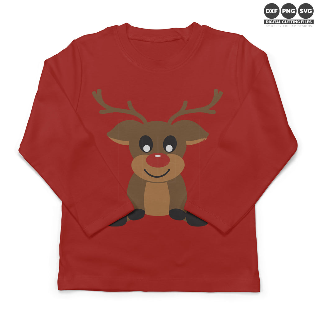 Red long sleeve toddler shirt with the Boy Reindeer svg