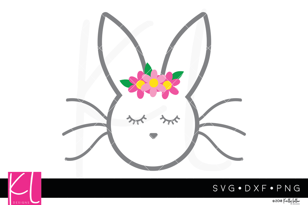 Sleepy Bunny svg file with optional  flower crown - Free for Personal Use