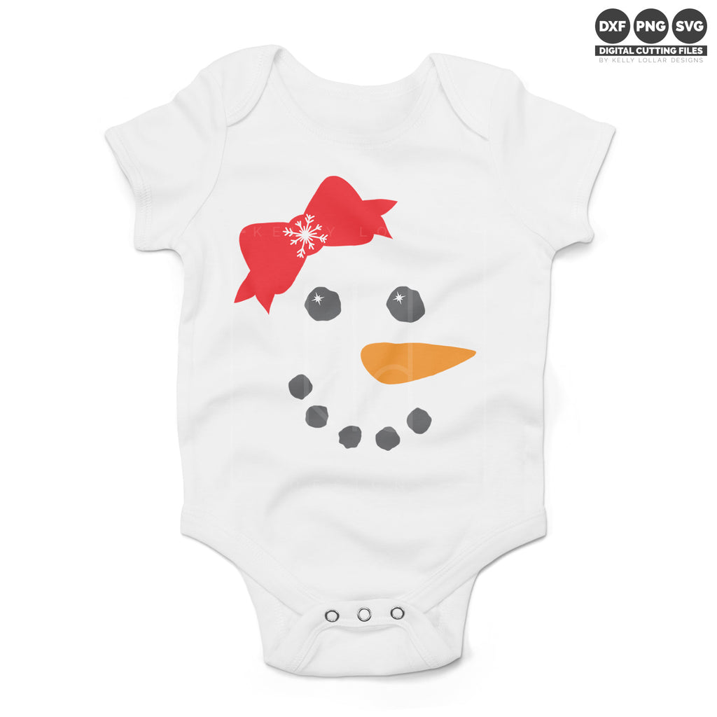 White baby bodysuit with the Snowgirl Face svg