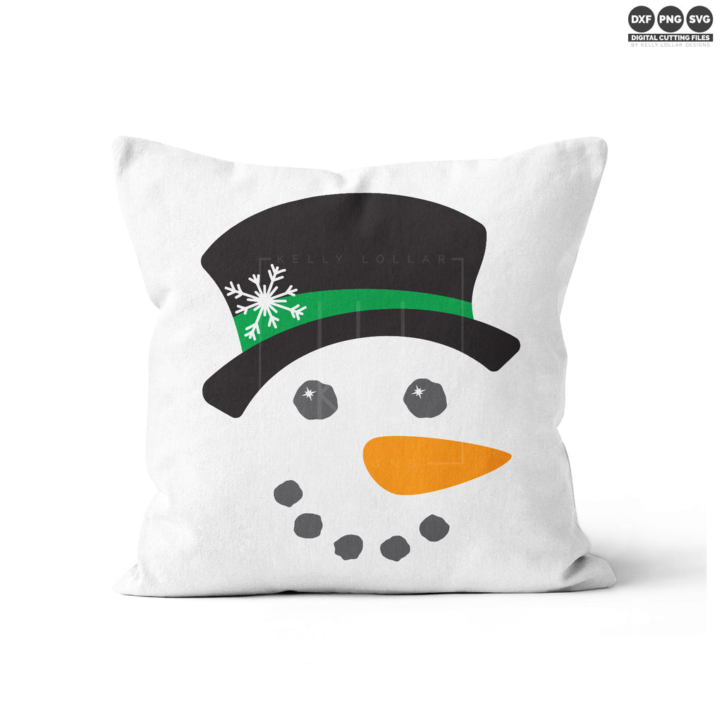 White throw pillow with the Snowman Face svg