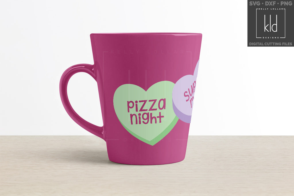 Purple coffee mug with the knockout version of the Conversation Hearts svg file