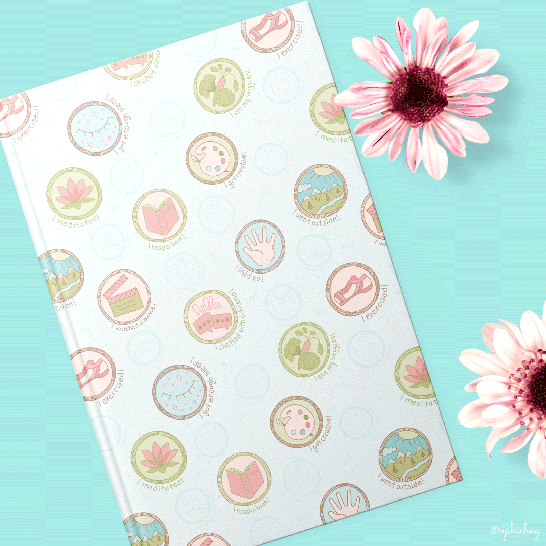 Self Care Badges Pattern on a Journal by Ophiebug