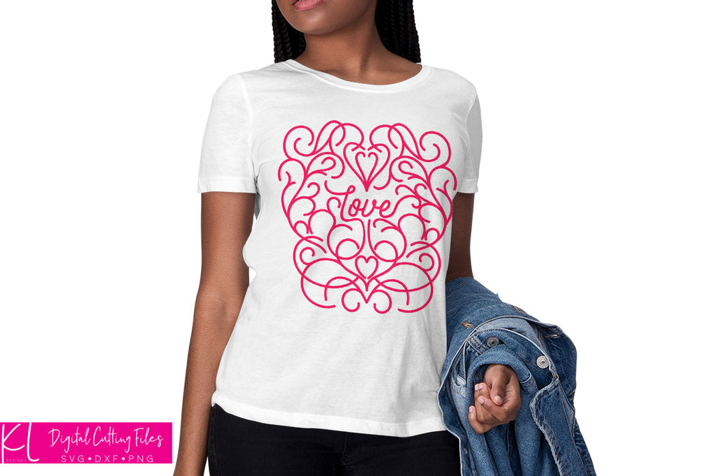 White women's shirt with the Scroll Work Love svg cut file in pink