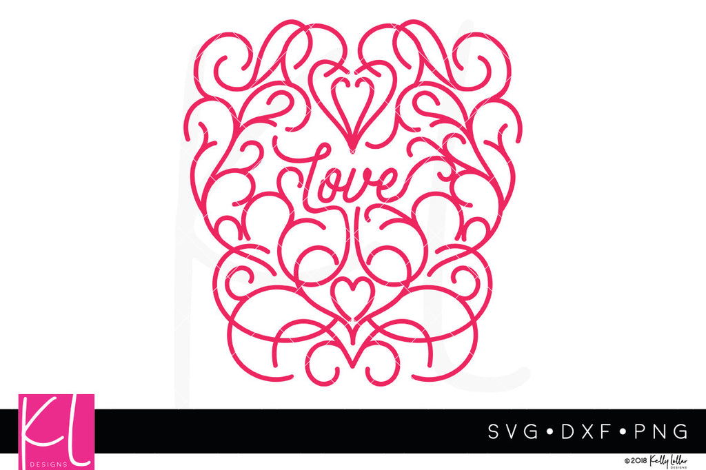 Script Love with scrolls Valentine's Day svg