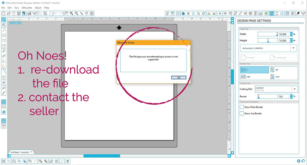 Corrupted file warning in Silhouette Studio
