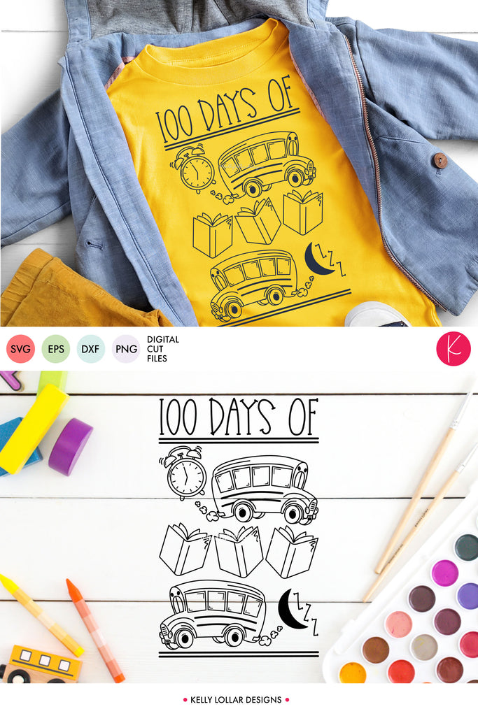 100th Day of School Daily Routine | SVG DXF EPS PNG Cut Files | Free for Personal Use