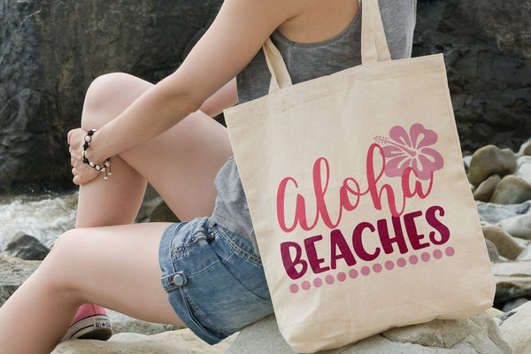 Summer tote with the Aloha Beaches SVG DXF EPS PNG Cut File | Free for Personal Use