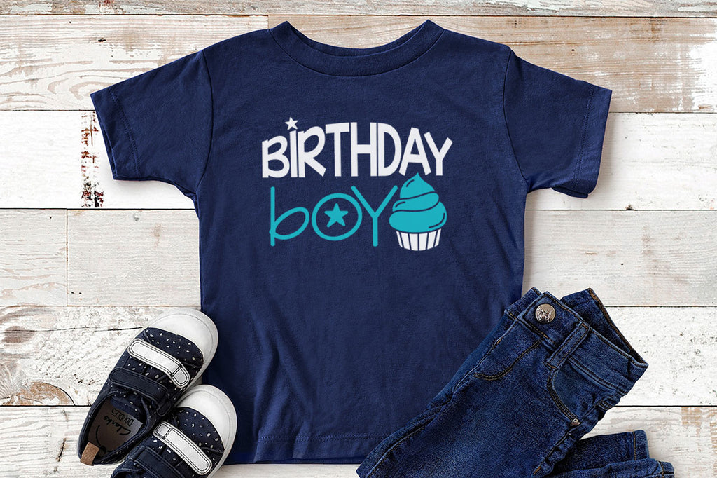 Toddler shirt with the Birthday Boy svg cut file