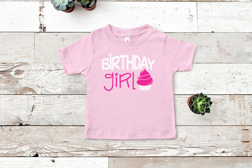 Toddler shirt with the Birthday Girl svg cut file