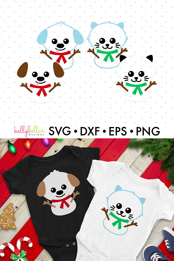 Cat and Dog Snowmen for Winter Shirts and Decor | SVG DXF EPS PNG Cut Files | Free for Personal Use