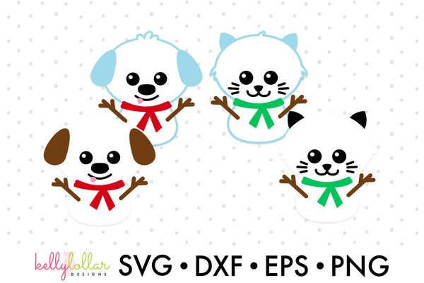 Cat and Dog Snowmen SVG DXF EPS PNG Cut Files | Free for Personal Use