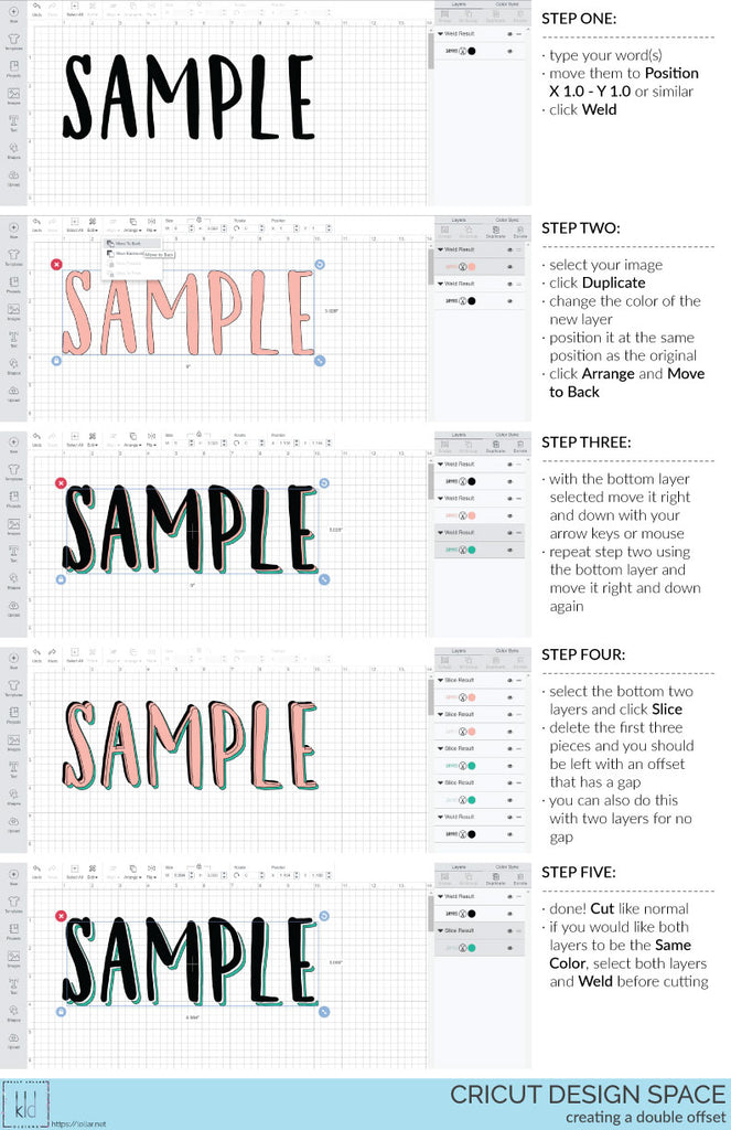 Cricut Design Space Tutorial: Creating Offsets on Text - Kelly