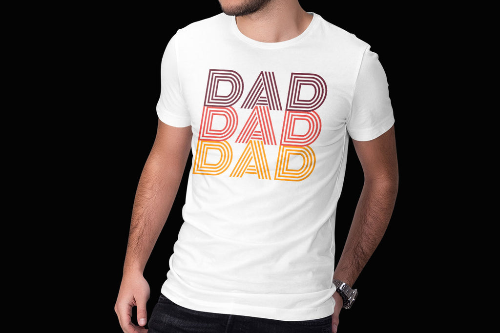 Men's white shirt with the Dad Dad Dad svg cut file in red, orange and yellow