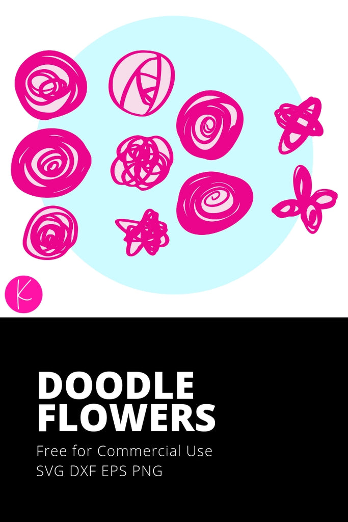 Doodle Flowers Pack | SVG DXF EPS PNG Cut Files