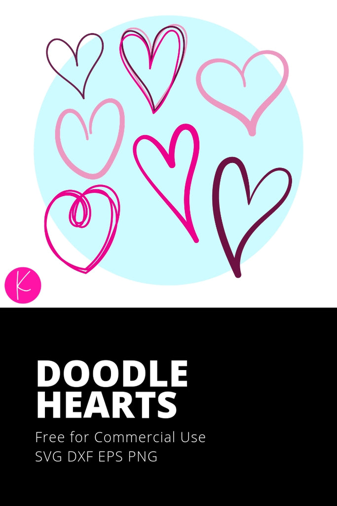 Free Doodle Hearts Svg Cut Files Kelly Lollar Designs