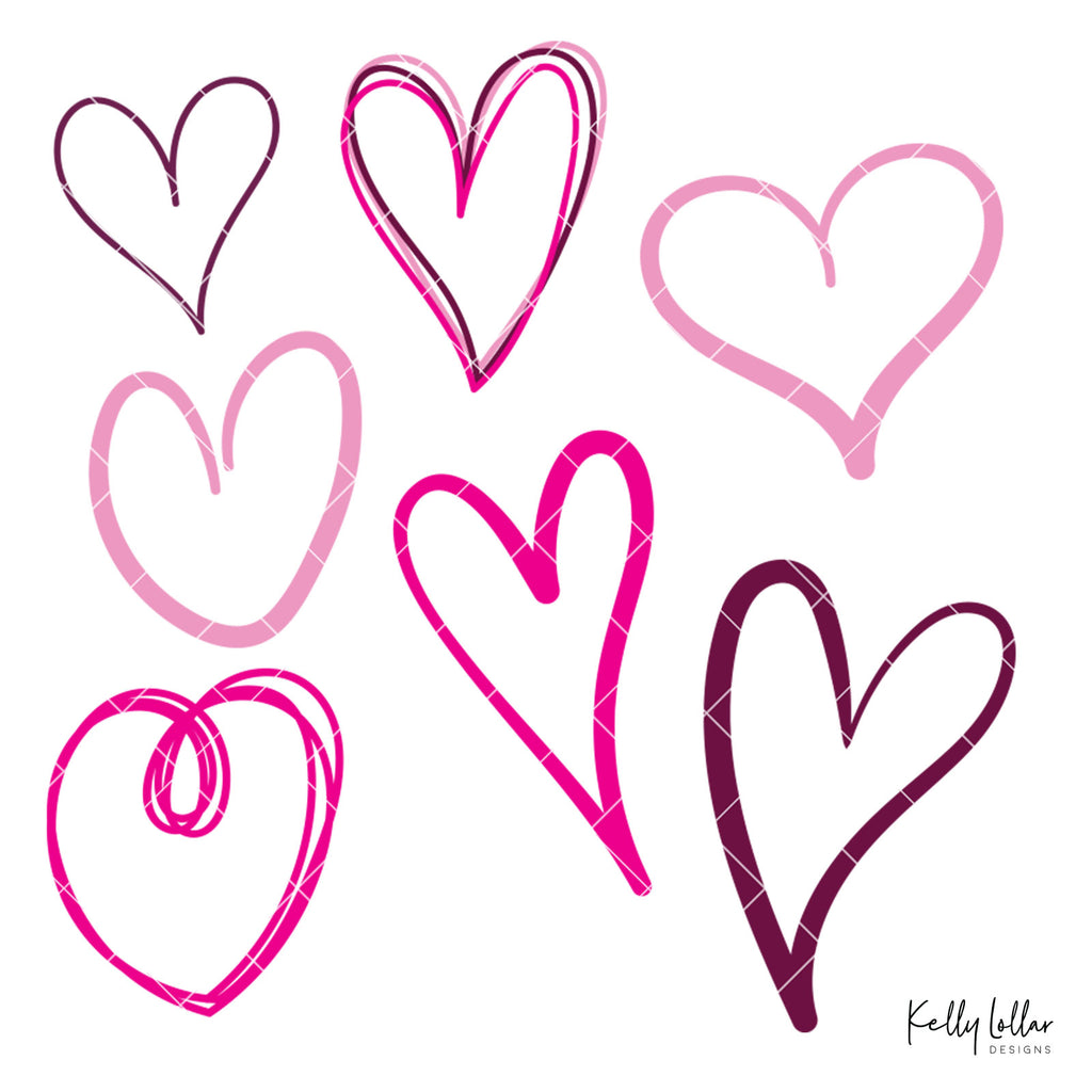 Doodle Hearts | SVG DXF PNG Cut Files | Free for Commercial Use