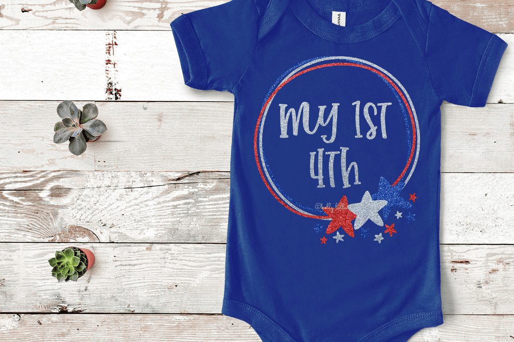 Baby bodysuit with the Doodle Star Frame 4th of July SVG DXF EPS PNG Cut Files   Free for Personal Use