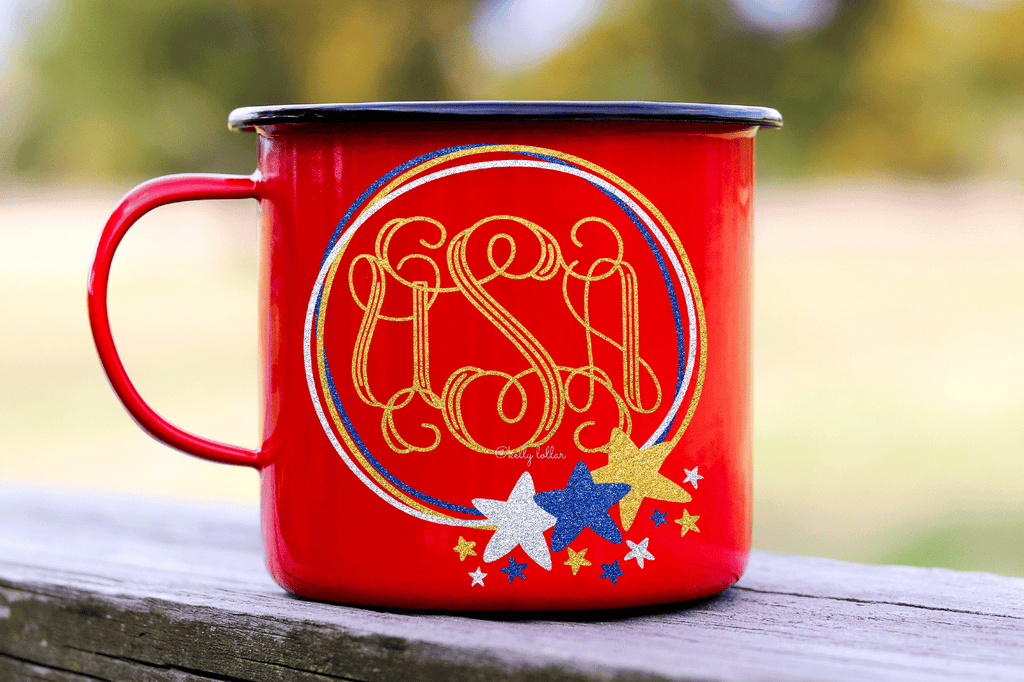 Festive mug with the Doodle Star Frame 4th of July SVG DXF EPS PNG Cut Files   Free for Personal Use
