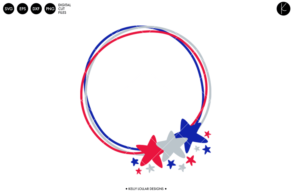 Doodle Star Frame 4th of July SVG DXF EPS PNG Cut Files   Free for Personal Use