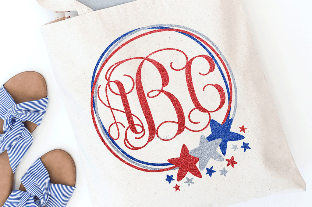 Holiday tote with the Doodle Star Frame 4th of July SVG DXF EPS PNG Cut Files   Free for Personal Use