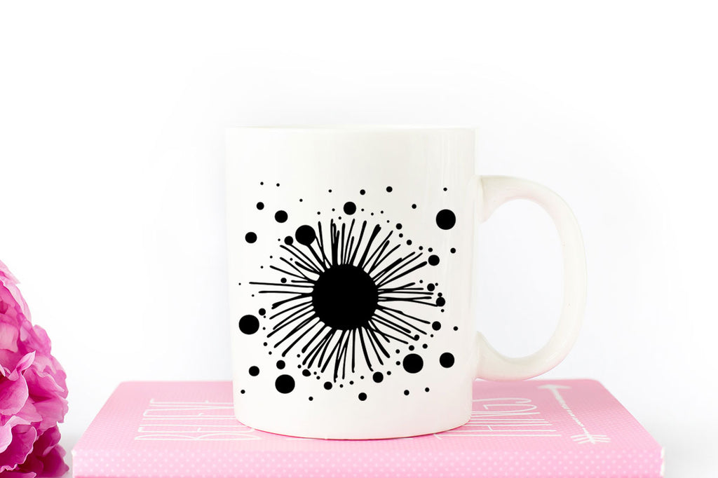 Coffee mug with the Dots & Lines Doodle Flower | SVG DXF EPS PNG Cut Files