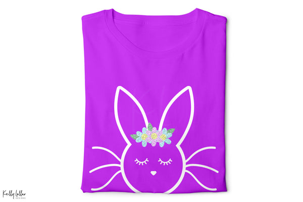 Purple t-shirt with the Sleepy Bunny svg with glitter flowers