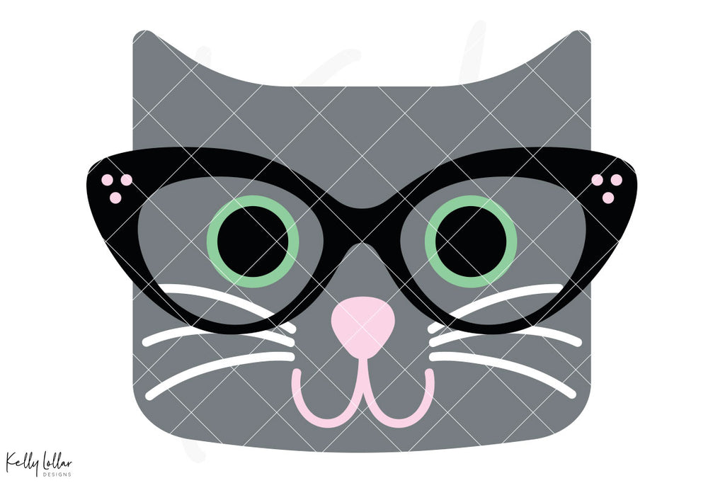 Layered version of the Cat with Glasses svg cut file with fully customizable colors