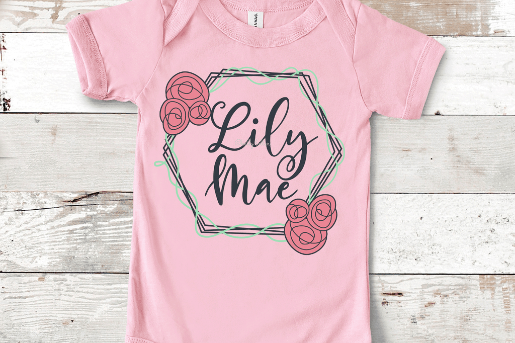 Baby bodysuit with added name and the Hexagon Flower Frame SVG DXF EPS PNG Cut Files   Free for Personal Use