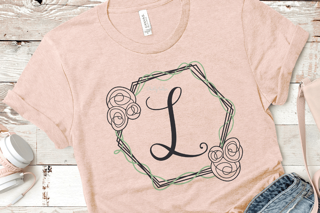 Women's t-shirt with an added initial and the Hexagon Flower Frame SVG DXF EPS PNG Cut Files   Free for Personal Use