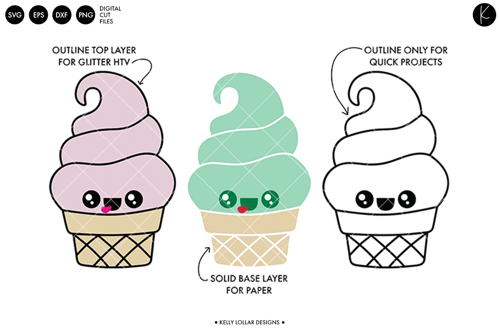 Kawaii Ice Cream Character SVG DXF EPS PNG Cut Files | Free for Personal Use