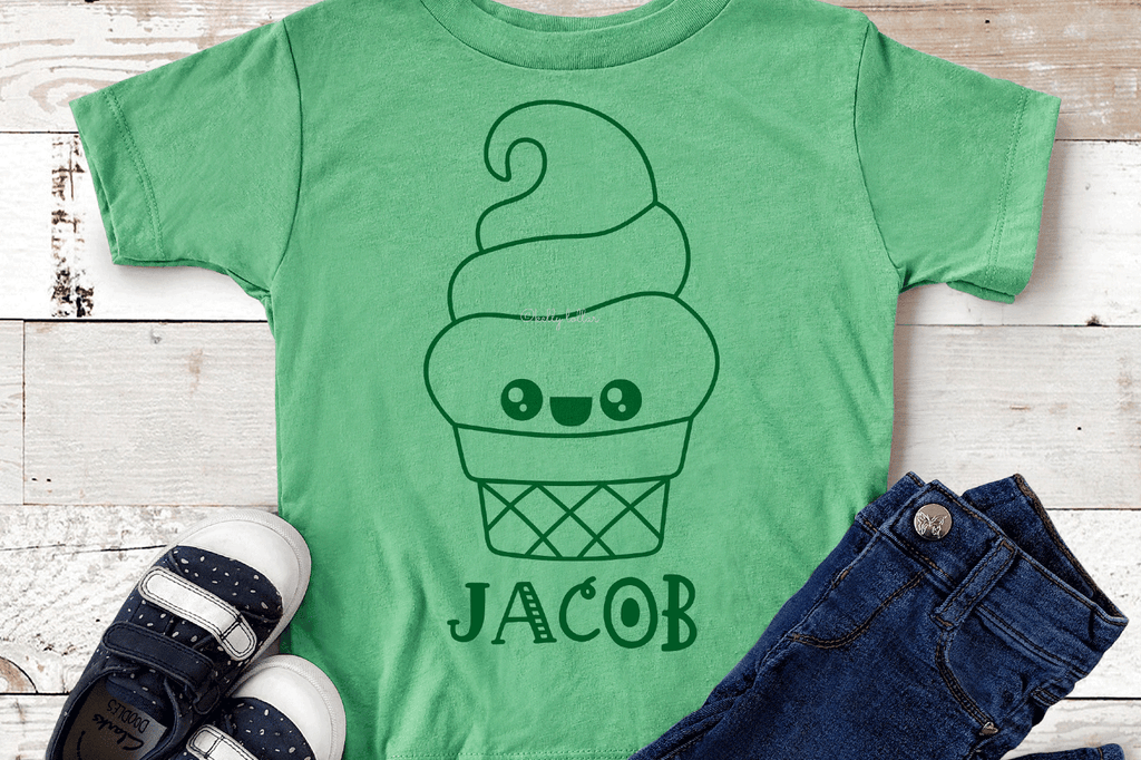 Toddler shirt with the Kawaii Ice Cream Character SVG DXF EPS PNG Cut Files | Free for Personal Use