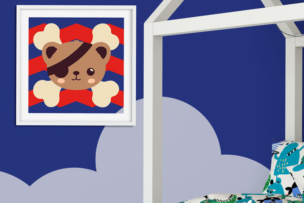 Children's Wall Art Using the Kawaii Pirate Bear SVG DXF EPS PNG Cut File | Free for Personal Use