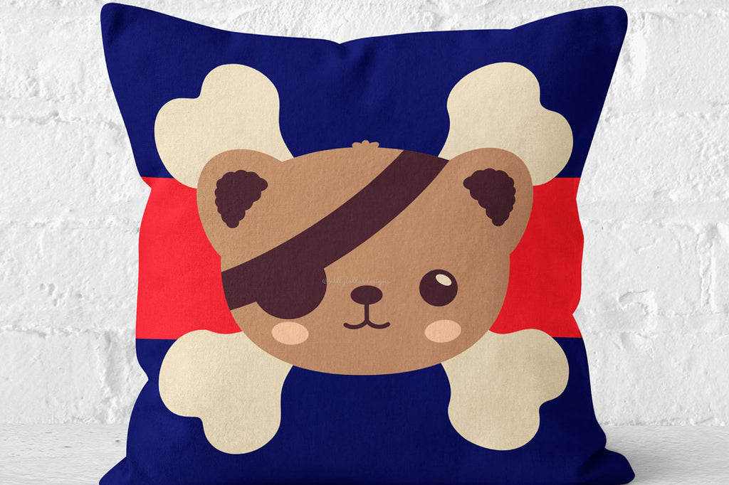 Children's Throw Pillow Using the Kawaii Pirate Bear SVG DXF EPS PNG Cut File | Free for Personal Use