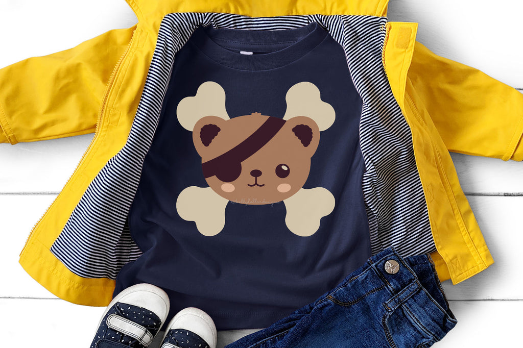Toddler T-shirt with the Kawaii Pirate Bear SVG DXF EPS PNG Cut File | Free for Personal Use