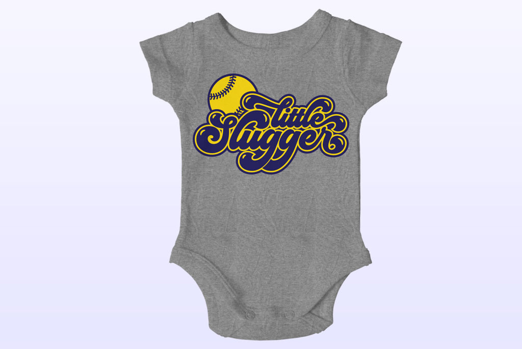 Little Slugger Baseball and Softball Cut File on a baby bodysuit | SVG DXF EPS PNG