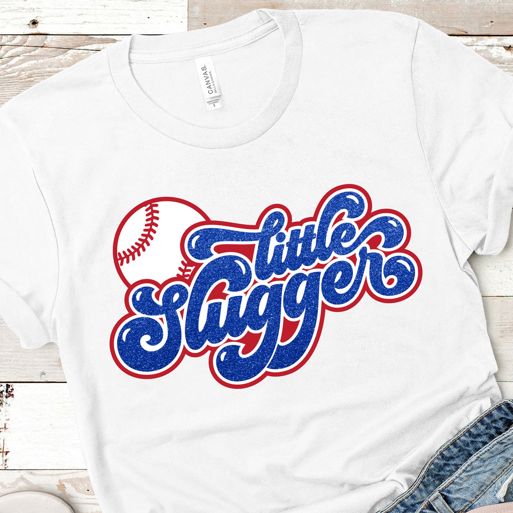 Little Slugger Baseball and Softball Cut File on a women's shirt | SVG DXF EPS PNG